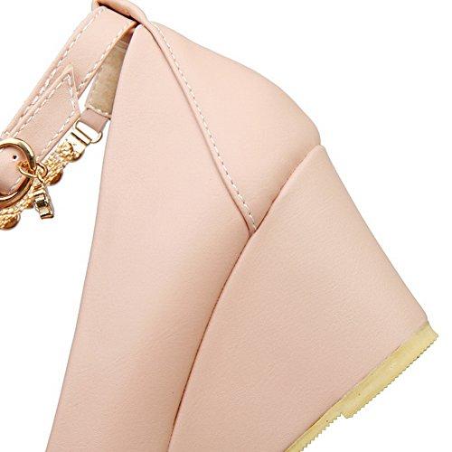 BalaMasa Ladies Solid Kitten-Heels Round-Toe Buckle Metal Chain Rubber Pumps-Shoes Pink 96f09jP5k