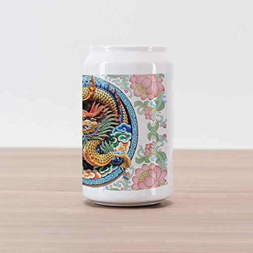 Lunarable Dragon Cola Can Shape Piggy Bank, Ancient Legendary Chinese Dragon on Floral Backdrop Esoteric Dynasty Icon East Asian, Ceramic Cola Shaped Coin Box Money Bank for Cash Saving, Multicolor