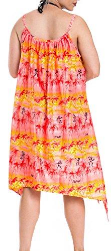 La Leela mujeres superiores beachwear bikini de encubrir traje de baño traje de baño de la cubierta caftán rojo gris