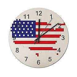 SunBingzhou Pixel USA Flag Patriotic 4th of July Gamer Gaming Wall Clock 12 Inch Silent Wooden Decorative Round Wall Clock Home Decor Wall Clock Non Ticking