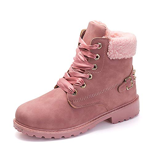 Women's Suede Waterproof Work Boots Winter High Top Low Heel Snow Boots Combat Slip on Fur Booties Pink 6 ()