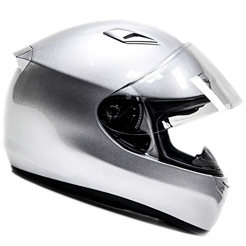Large Full Face Snell Helmet - Free Smoke Shield with Purchase! Snell M2015 Approved DOT Full Face Helmet Motorcycle Street Racing (Large - Silver)