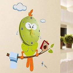 Zehui Creative DIY Wall Clock with Removable Sticker 3D Decoration Art Clock Wall Decal Clocks for Kids Room Nursery Home Decor