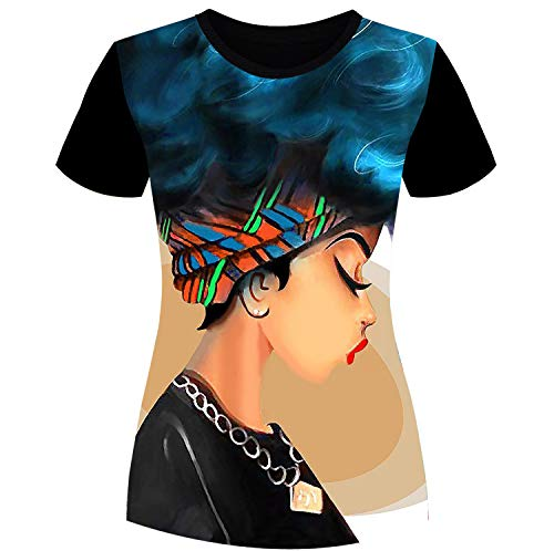 Womens T-Shirts Black History Month Afro Word Art Natural Hair Styles 3D Print Casual Tops for Women Tees