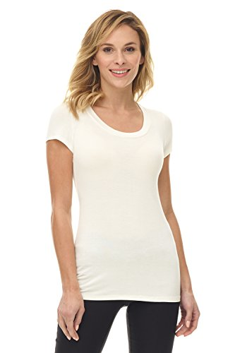 (Rekucci Women's Perfectly Soft Basic Fitted Short Sleeve Scoop Neck T Shirt (XX-Large,Ivory))