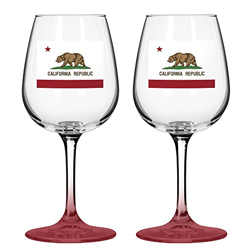 Boelter Brands California State Flag Wine Glasses
