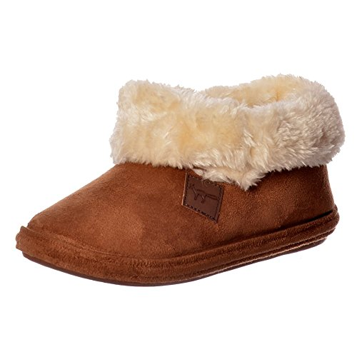 Jo & Joe Chiltern Fur Lined Fur Collar Slipper Boot - Cognac, Dark Brown Cognac
