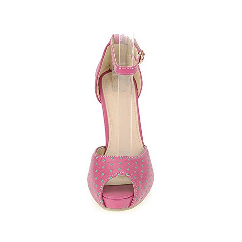 VogueZone009 Womens Open Toe Peep Toe High Heels PU Soft Material Solid Sandals with Chunky Heels Peach i3CrQ