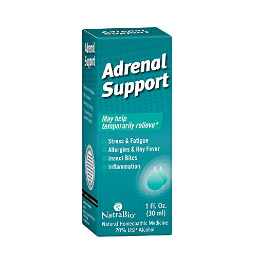 NatraBio Adrenal Support Drops | Homeopathic Formula for Temporary Relief from Stress, Fatigue, Allergies, Insect Bites & Inflammation | 1oz