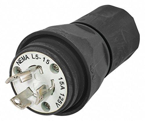 3w 15p 2p Plug (15A Watertight Locking Plug 2P 3W 125VAC L5-15P BK)