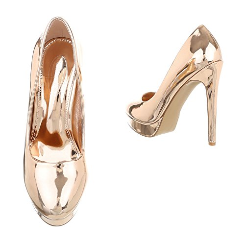 Ital-Design Women's Court Shoes Stiletto High Heels at Pink Gold OMXFp5FPH