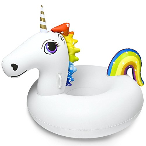 PFLOAT 45 Inches Unicorn Pool Float Inflatable Party Tube - Super Big Outdoor Pool Float WIth Rapid Valves for Kids and Adults [ Free Carrying Bag ] (White)