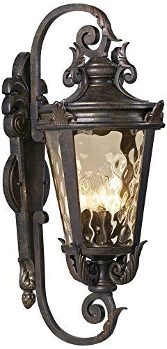"Casa Marseille Outdoor Wall Light Fixture Bronze Scroll 27 1/2"" Hammered Glass for House Patio Porch - John Timberland"