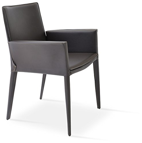 Tiffany Leather Chair - Soho Concept TiffanyD-SBW-BlkBL Tiffany Arm Chair with Solid Beech Walnut Color Base, Black Bonded Leather
