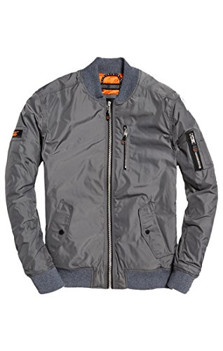 Superdry Men's Flight Bomber, Bullet Grey, XL (Superdry Mens Leather Jacket)
