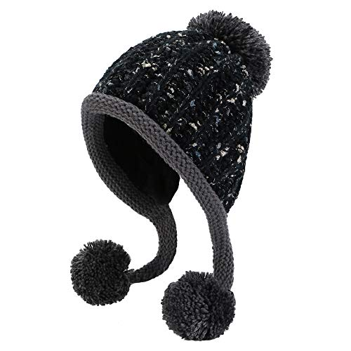 HUAMULAN Women Skull Beanie Hat Peruvian Cap Winter Fleeced Ski Ear Flaps Pompoms ()