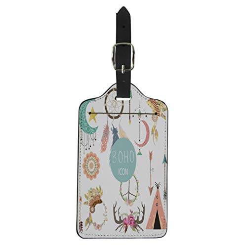 Pinbeam Luggage Tag Collection for Flyers Placards Wreath Feather Flower Tent Suitcase Baggage Label