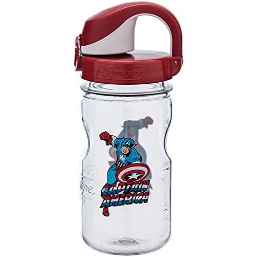Nalgene Kids OTF Captain America Bottle, Clear, 12 oz Fly Water Bottle