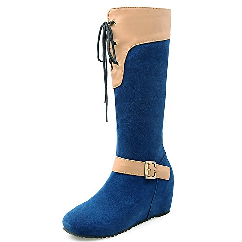 Fashion Heel Nubuck Womens Wedge Heel Round Toe Lace Up Buckle Knee High Boot Blue zNCSKk