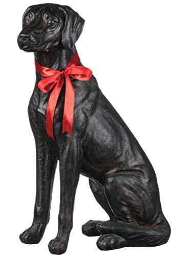 Sullivans Dog Sculpture Statue Figurine, Sitting Black Labrador with Red Bow, 9