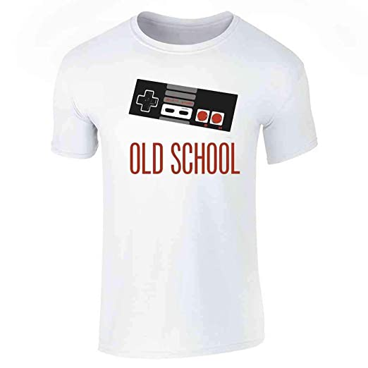 Pop Threads Old School Video Game Controller White M Short Sleeve T-Shirt by