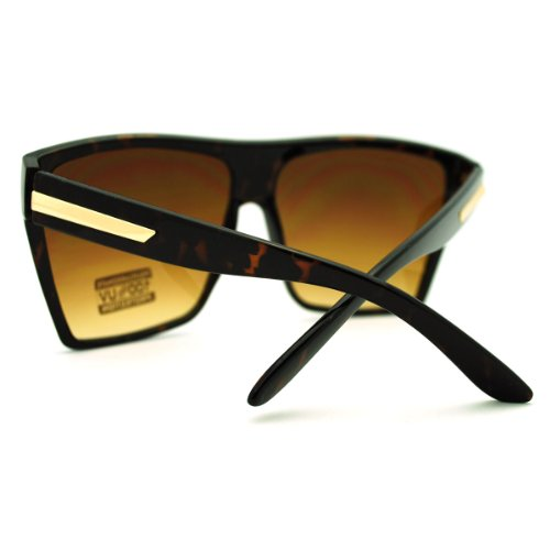 993f9727a0 outlet Large Oversized Retro Fashion Square Flat Top Sunglasses (Tortoise)