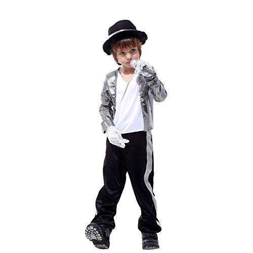 Boys Halloween Costumes Michael Jackson Clothing Stage Performance Dancewear (5-7) Silver ()