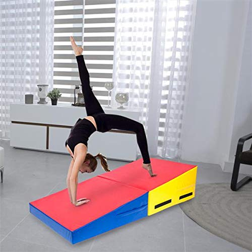 USAStock 60″ x 30″ x 14″ / 48″ x 24″ x 14″ Folding Incline Mat, Slope Gymnastics Wedge Cheese Mat, for Kids Teen Exercise Aerobics, Tumbling, Skill Performance