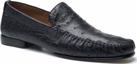 Mezlan Men's Rollini Animal Print Shoes,Black Ostrich,9 M Ostrich Print Leather Shoes