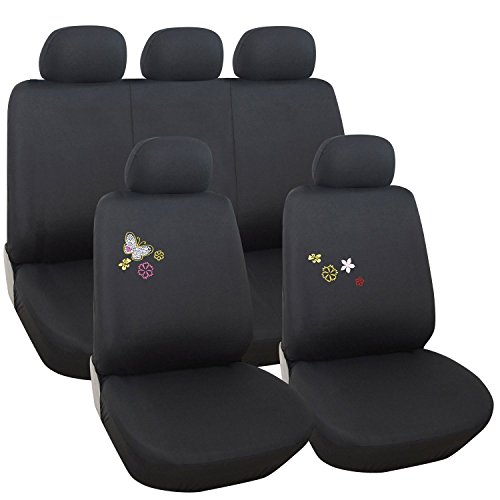Adeco 9-Piece Car Vehicle Protective Seat Covers, Universal Fit, Black with Butterfly Detail (Decorative Car Seat Covers)