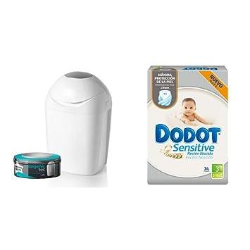 Pack Contenedor de pañales Sangenic + Dodot Sensitive, Talla 3, 2 cajas de 74 pañales: Amazon.es: Bebé