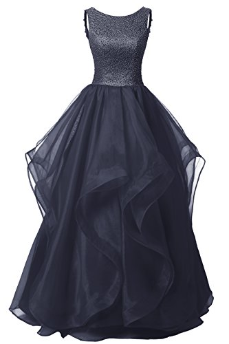 Dresstells Long Prom Dress Asymmetric Ball Gown Evening Gown Beads Organza Gown Navy Size 6