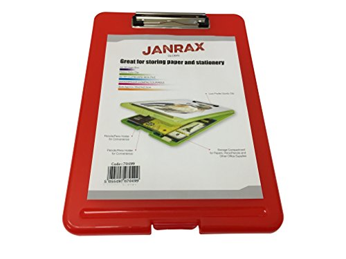 Janrax A4 Red Clipboard Box File - Storage Filing Case