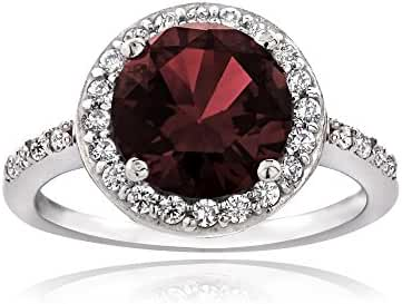 Sterling Silver Garnet and Cubic Zirconia Round Halo Ring