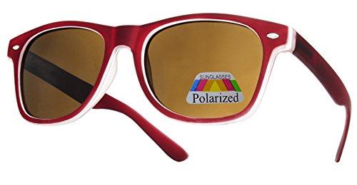 cristal efecto polarized de Para Para Completo 4sold Gafas y Mujer UV400 Hombre Lente marron Retro Sol de rubi con Diseño Moda espejo qHTwaA