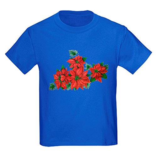 Royal Lion Kids Dark T-Shirt Christmas Poinsettias - Royal Blue, XL