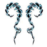 BodyJ4You 2PC Glass Ear Tapers Plugs 0G White Blue Black Spiral Gauges Piercing Jewelry Set