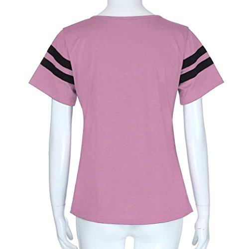 Fille Uni Sweat Sweatshirt Rayures SANFASHION Femme Manches t de Ados Courtes Rose22 Couleurs Shirt Chic 2 Losse Beaucoup 78O7wqz