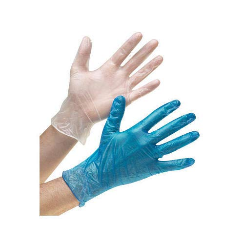 G&S PACKING UK LTD 100 Pack Box Vinyl Disposable Gloves Blue Or Clear Non Powdered Powder Free Vinyl Gloves (Large)