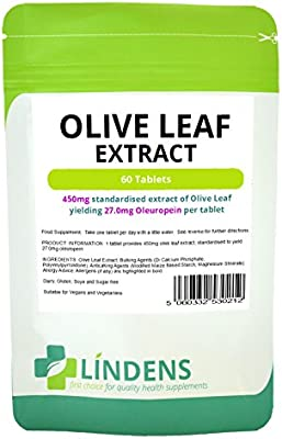 Amazon com: Lindens Olive Leaf Extract Tablets, (27000mcg