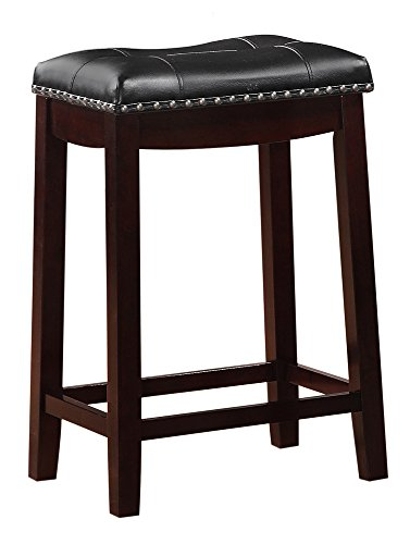 Counter Chair Seat Cushion (Angel Line Cambridge Padded Saddle Stool, Espresso with Black Cushion, 24