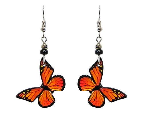 Butterfly Dangle Earrings (Monarch/Orange)