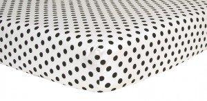 Trend Lab Crib Sheet - Black And White Dot Print Flannel