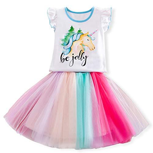 TTYAOVO Toddlers 2pcs Unicorn Outfits,Girls' Unicorn Sleeveless Tops with Layered Rainbow Tutu Skirts Size 6-7 Years ()