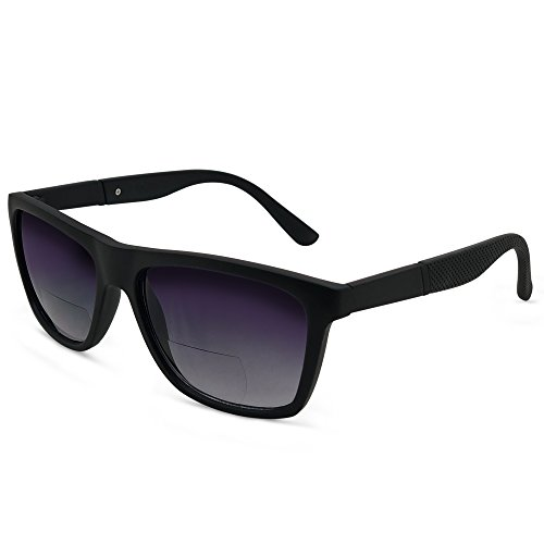 In Style Eyes Amor Nearly No Line Bifocal Wayfarer Sunglasses Black 2.00 by In Style Eyes