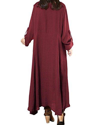 Cotone Bordeaux Lunghe Abito Maxi StyleDome Elegante Maniche Lungo Sexy Vestito Casual Donna vqnp6U