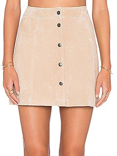 Clothink Women Light Khaki Suedette High waist Buttoned Front A-line (Khaki A-line Skirt)