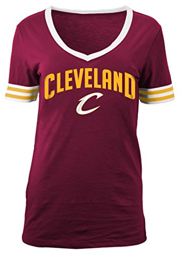 NBA Cleveland Cavaliers Adult Women Ladies Baby Jersey Short sleeve V Neck with Chenille Applique,L,Red