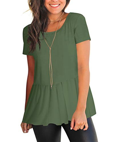 - FHKDL Womens Short Sleeve Shirts Pleated Solid Color T Shirt Casual Flowy Tunic Tops Green, Large