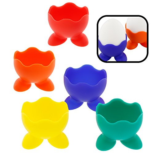 Egg Cup Yellow (Silicone Egg Cup Holders- Set of 5 Rainbow Serving Cups)